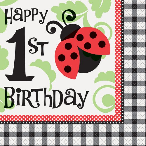 Ladybug 1st Birthday Party Napkins, 16ct Bug Life Play Table