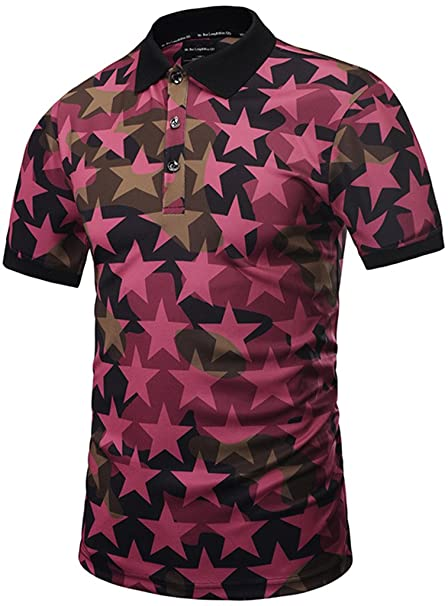 c2aa4bffa PIZOFF Mens Boys Hipster Short Sleeve All Over 3D Camouflage Stars Print  Button Down Breathable Slim