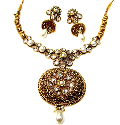 36fd686e3d394 Buy Poddar Jewels Golden Pearl Polki Necklace Set Online at Low ...