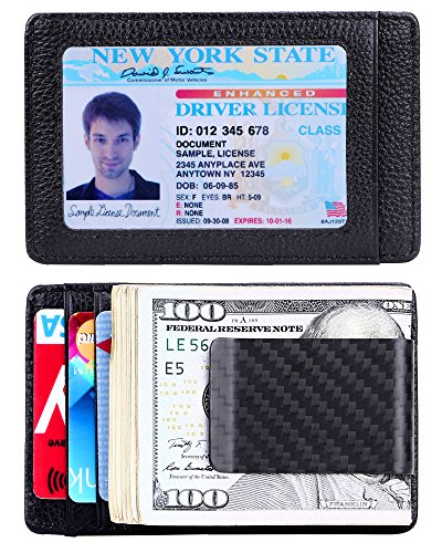 (Money Clip, Front Pocket Wallet, Leather RFID Blocking Strong Magnet thin Wallet (Carbon Fiber ID)
