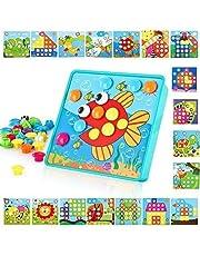 TINOTEEN Mozaïek steekspel voor kinderen, educatief speelgoed, steekmozaïek met 50 kralen en 18 kleurrijke sleuven