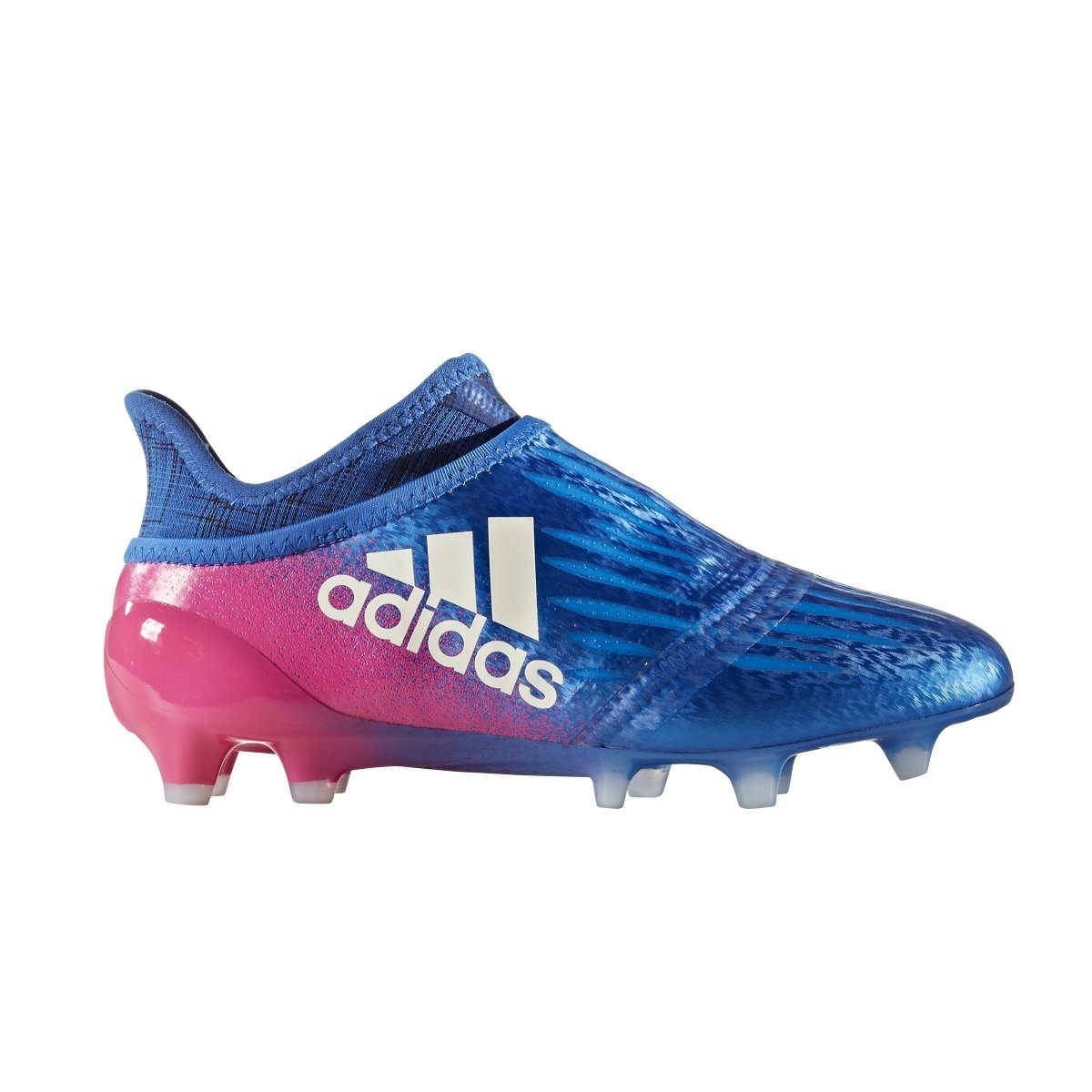 adidas Youth Soccer X 16+ Purechaos Firm Ground Cleats, 5.0 D(M) US, Blue/Footwear White/Shock Pink