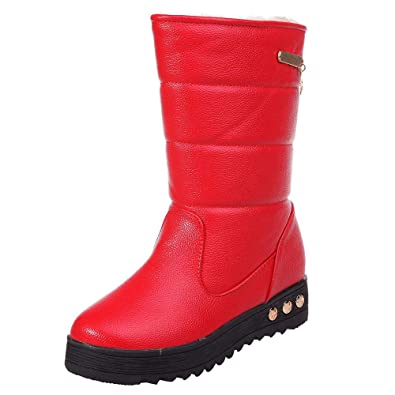 f19c4b60665 LandFox New Classic Winter Warm Snow Boots,Women Leather Waterproof Solid  Martin Round Toe Shoes