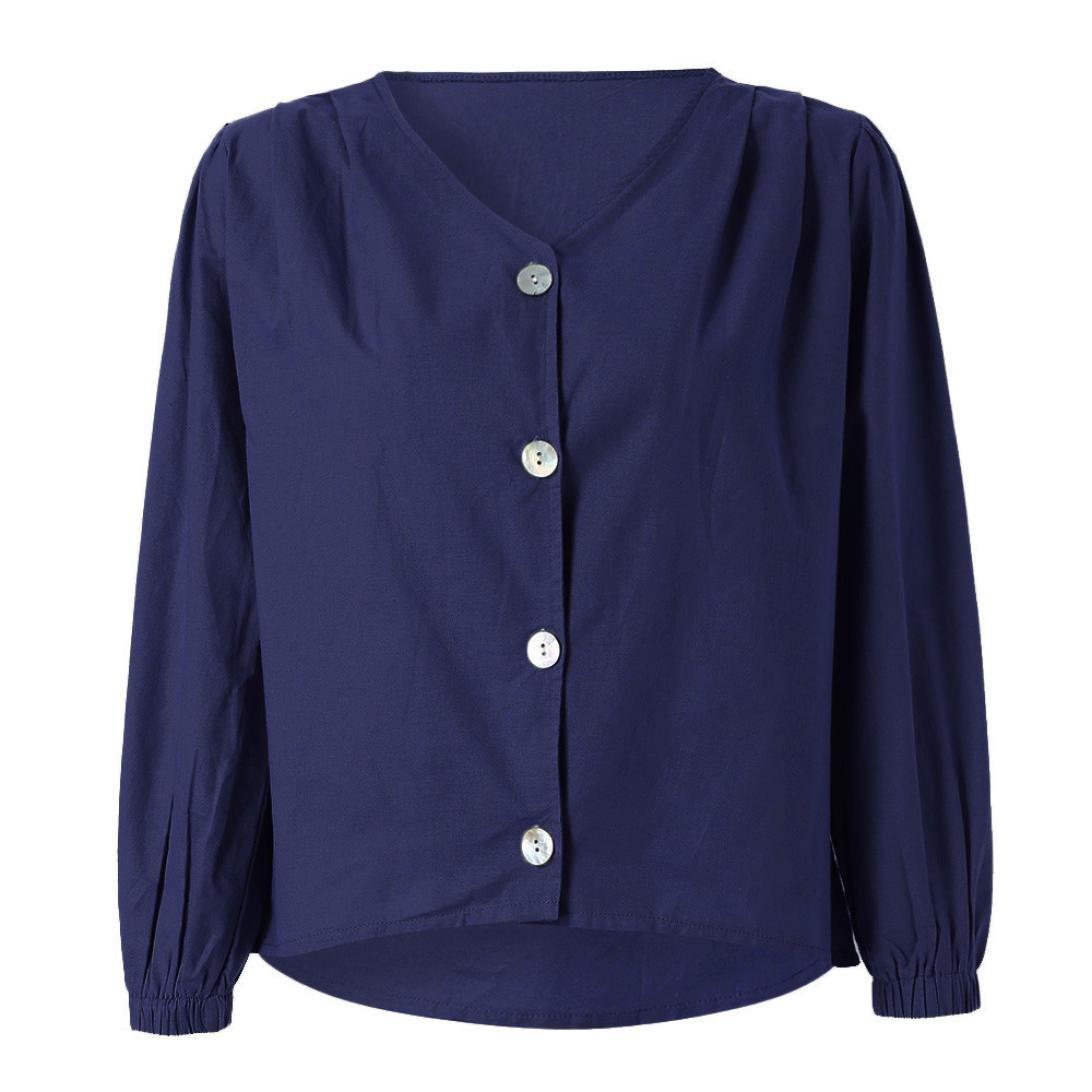 ❤ Blusa de Manga Larga Mujer, Camisa de algodón y Lino Camisas de Botones Ocasionales con Escote en V: Amazon.es: Ropa y accesorios