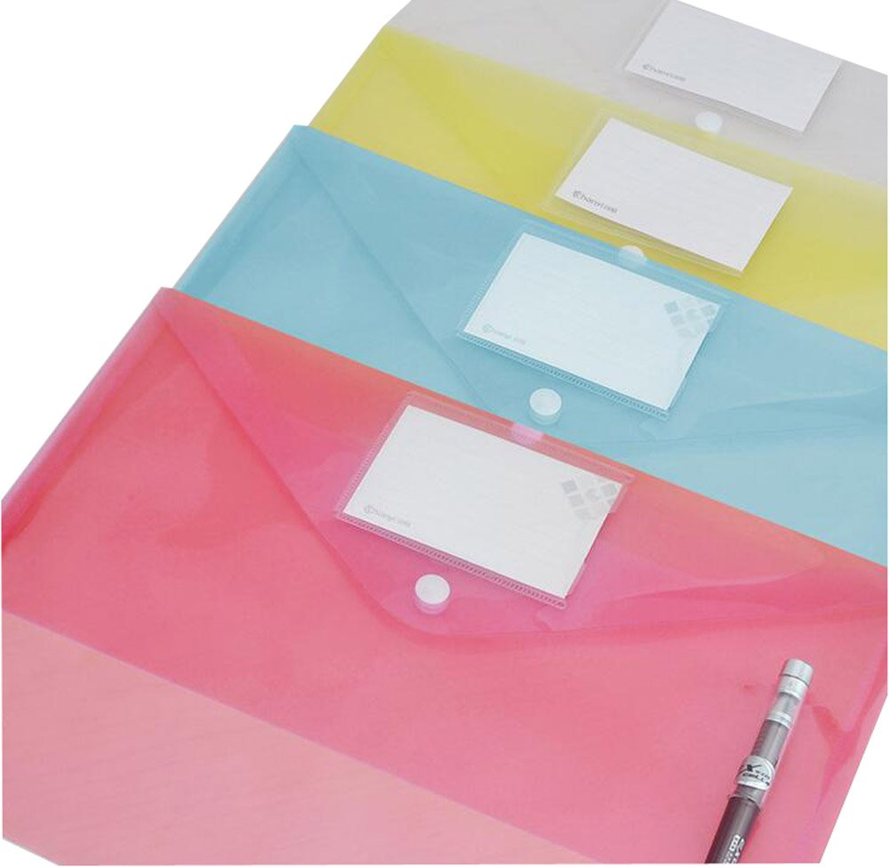 wasserabweisend transparent Sammelmappe DIN A4 Druckknopf YOTINO 5er Dokumentenmappe