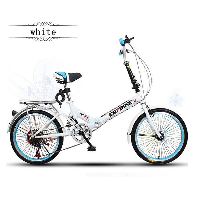 XQ Bicicleta Plegable Bicicleta Ultralight Portátil Mini Pequeña Velocidad Variable Mojadura 20 Pulgadas Adulto Bicicleta para Niños Hombres Y Mujeres Lujo ...