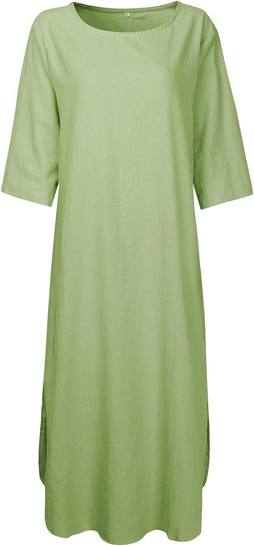 scollo rotondo casual maxi maxi vestito lungo AUDATE a maniche lunghe abito da donna in lino e cotone