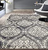 Rugshop 702Gray5 'x 7′ Transitional Floral Damask Area Rug, 5′ x 7', Gray For Sale