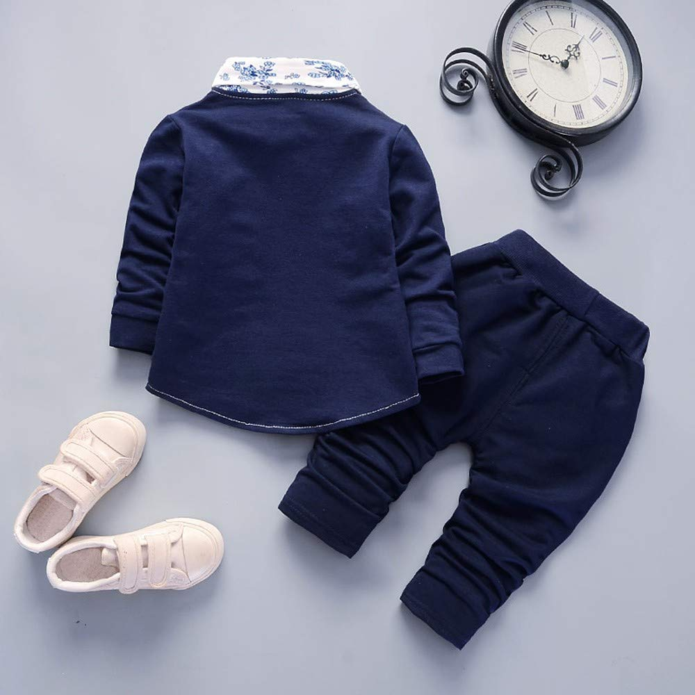 Amazon.com: Kasien Baby Suit, Newborn Baby Boy Gentry Clothes Long Sleeves Bow Tie Top T-Shirt+ Pants Outfit Kids Clothes Set: Clothing
