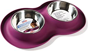 Pet Parade Dual Bowl Silicone Mat-Mess - Free Feeding Bowl for Cats & Dogs - Non-Skid Silicone Base - Machine Washable Stainless Steel Bowls - Available in 5 oz. or 12 oz. Bowls