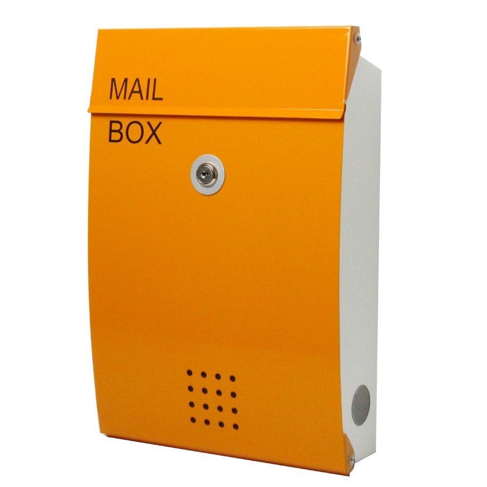 EUROデザイナーズポスト ユーロデザイナーズポスト MB5005 オレンジ 郵便受け MB5005-KM-ORANGE 034 奥行26×高さ38×幅8.5cm B07DL2K621 オレンジ オレンジ