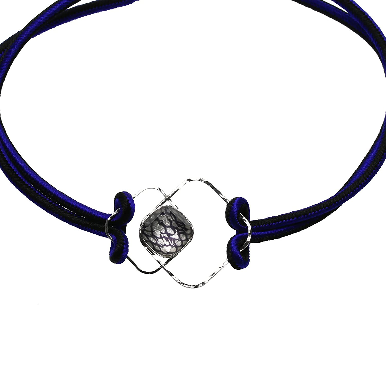 Tamarusan Choker Braid Lapis Lazuli Silk Ribbon Simple Chic Handmade
