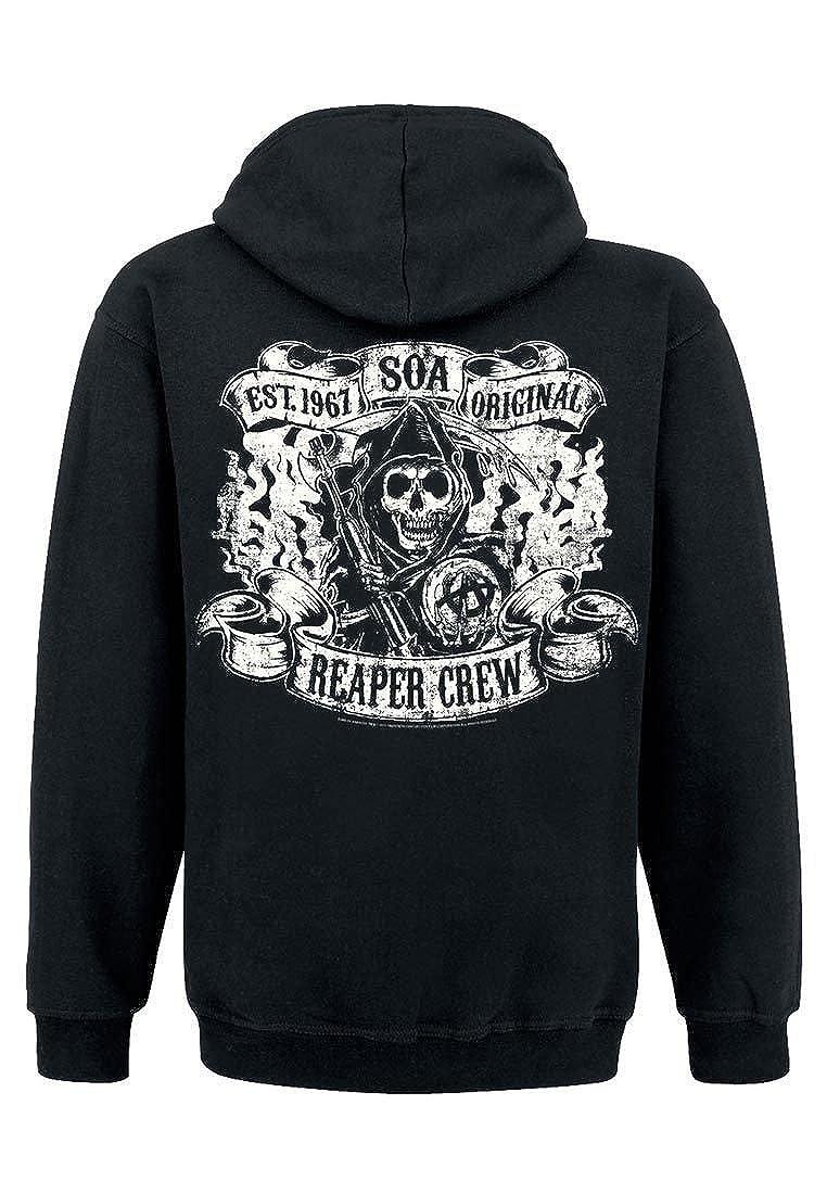 Sons of Anarchy Reaper Crew Sudadera Capucha con Cremallera Negro: Amazon.es: Ropa y accesorios