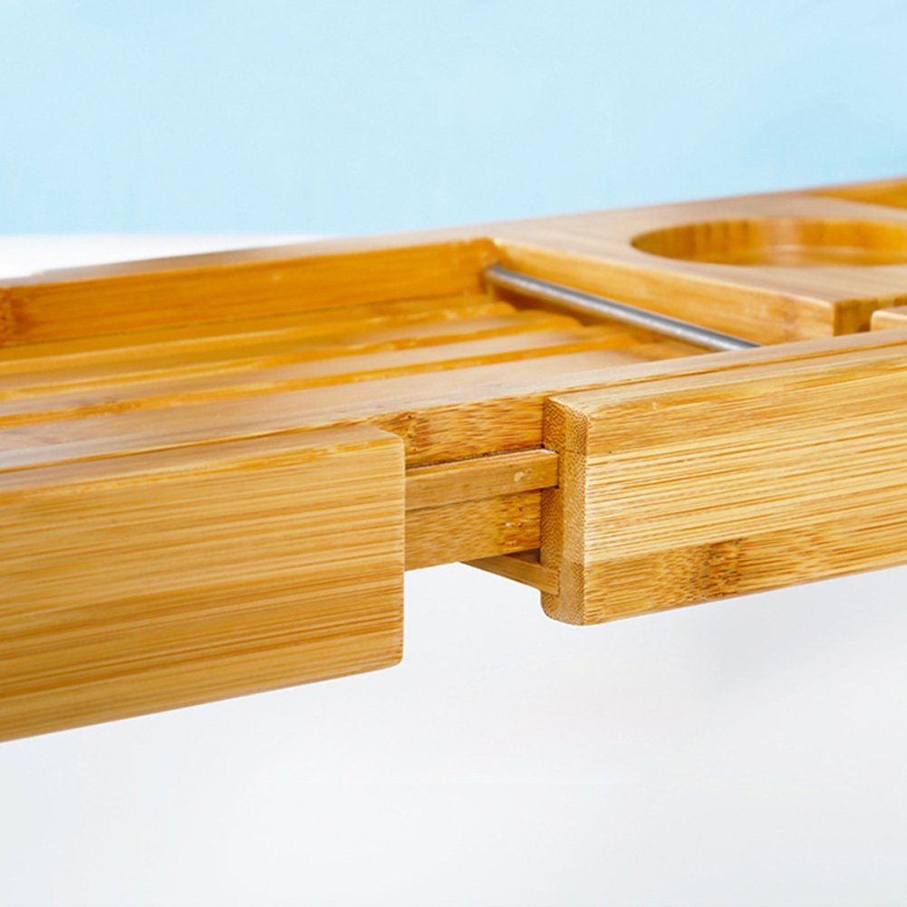 Luxury Wood Bamboo Bathtub Tray Bath Tub Caddy Tray Extending Sides Built in Wineglass Aromatherapy Candles Phone Holder Reading Rack Cellphone Tray Fit Most Tub MJ0001 by TUYU (Image #7)