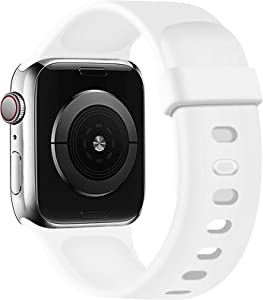 SVISVIPA Sport Bands Compatible with Apple Watch Bands 38mm 40mm, Soft Silicone Wristbands Women Men Replacement Strap for iWatch Series SE/6/5/4/3/2/1,White