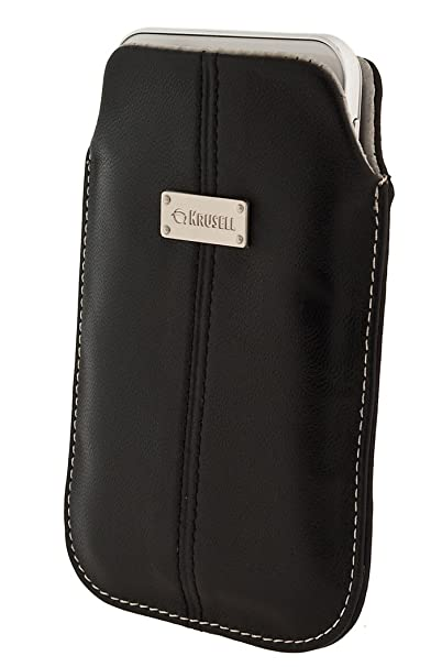 Krusell 95395 Luna L-Long Mobile Leather Pocket Pouch for iPhone 5 - 1 Pack - Retail Packaging - Black/Sand <span at amazon