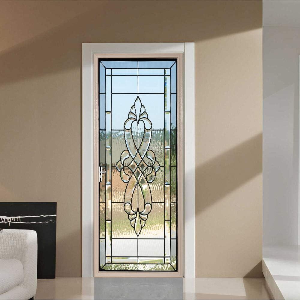 LLWYH Etiqueta De Puerta Vidrieras 3D PVC Impermeable Pegatinas De Pared Decoración De Hogar 77Cm X 200Cm