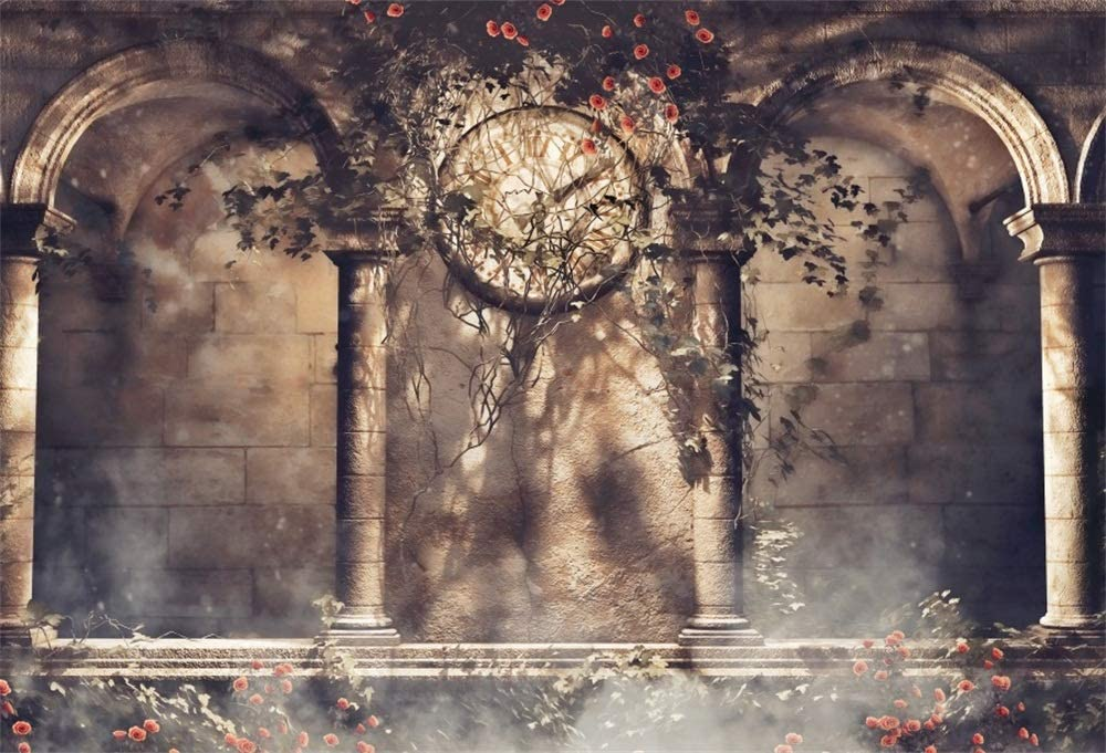 Retro Clock Gothic Backdrop 10x6.5ft Polyester Photography Background Rose Ivy Arch Architecture Building Stone Wall Fantasy Scene Wedding Parties Backdrops