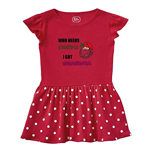Amazon.com: Santa Claus Who Needs Santa Got Grandma Taped Neck Girl Cotton Rib Dress Pink: Clothing