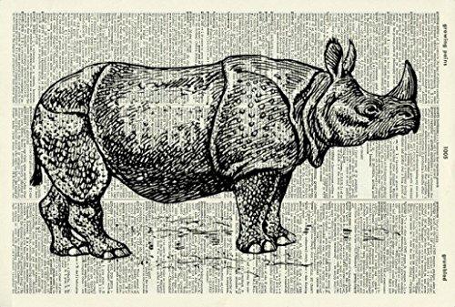 Black Rhinoceros Animals (RHINOCEROS ART PRINT - VINTAGE ART PRINT - Animal Art Print - BLACK & WHITE ART PRINT - Illustration - Rhino Picture - Vintage Dictionary Art Print - Wall Hanging - Housewares - Book Print 26D)