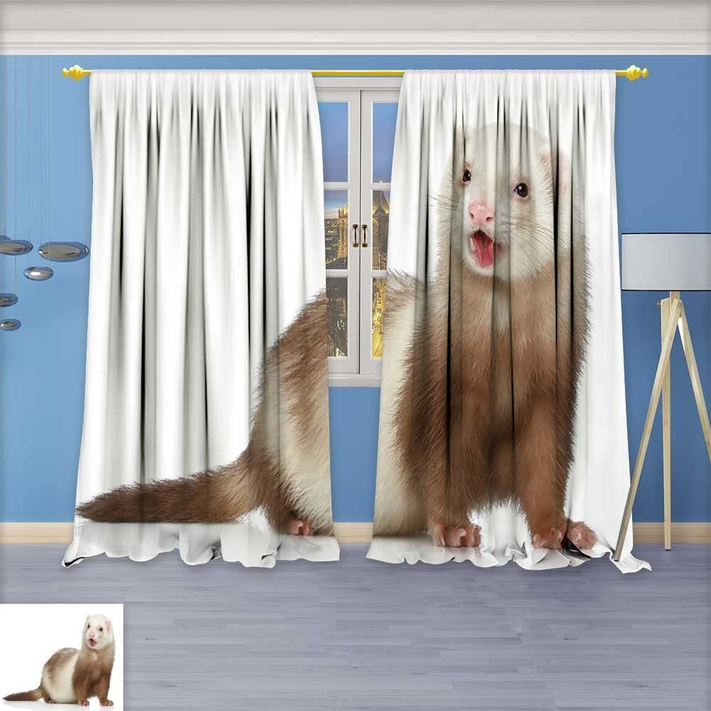 Septsonne Room Darkening Window Curtain Panel Pair Ferret Polecat On A White Background Living Room 72w X 96l Inch Amazon Co Uk Kitchen Home