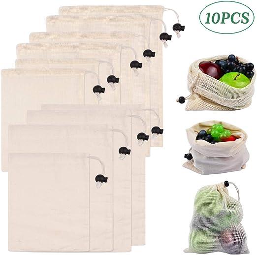 Wellehomi Bolsas reutilizables con cordón, 10 unidades, bolsa de ...