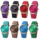Ikevan Fashion Women Geneva Roman Watch Lady Leather Band Analog Quartz Wrist Watch