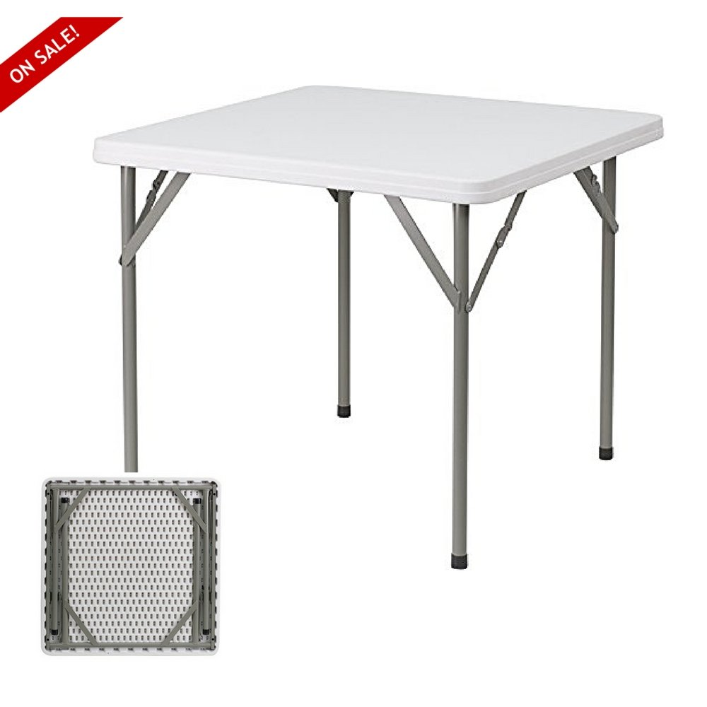 Small Folding Table For 4 People For Multipurpose Everyday Activities Indoor Outdoor Use Folds Flat And Stored Easily Assembly Is Not Required Finish Grey White By TSR
