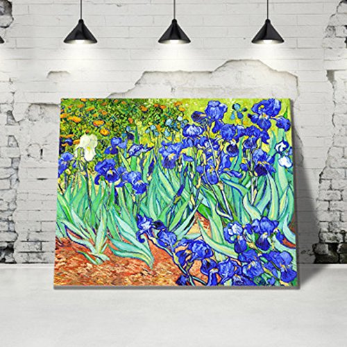 Wowdecor Paint by Numbers Kits for Adults Kids, DIY Number Painting - Beautiful Blue Flowers, Irises by Van Gogh 40 x 50 cm - New Stamped Canvas (Framed) - Irises Framed Canvas