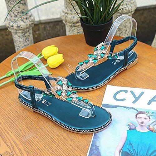 Bohême Glisser Clip Tongs SHANLY De Chaussures sur Été Sandales Green Femmes Pantoufles Piscine Tongs pour Plage Toe Sandale Romaine twqqFPXBx
