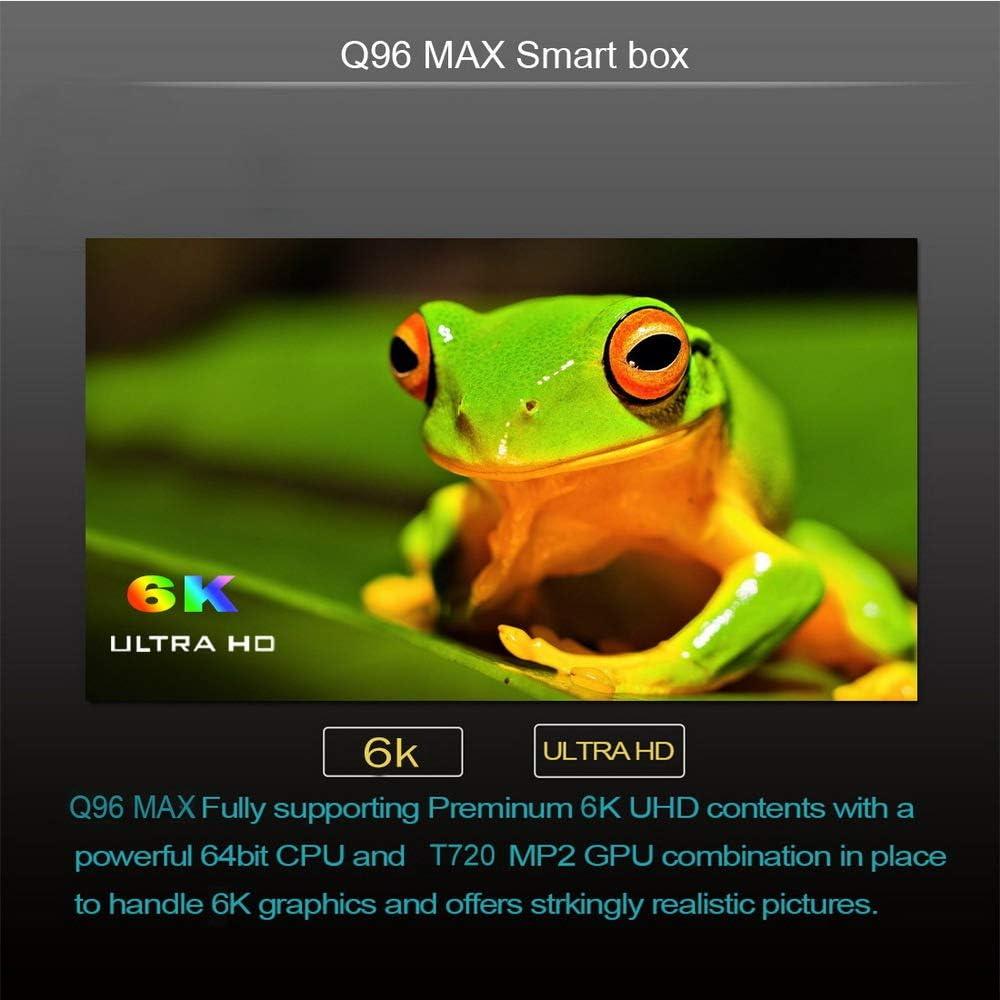 WFGZQ Android 9.0 Q96 MAX TV Box, Cortex-A53 Allwinner H6 Quad Core CPU TV 6K Ultra HD TV Box, [4GB + 32GB] H.265 2.4GHz WiFi 100M LAN USB 3.0 Caja de TV