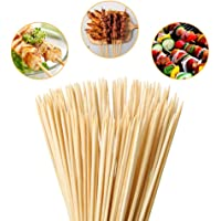 Tioolioo Bamboo Skewers 8″ Natural Roasting Skewers Sticks for BBQ Grilling,Chocolate Fountain,Appetiser,Crafting,Party,Marshmallow Roasting or Fruit Sticks,Φ= 4mm, Size 8″ 10″ 12″ 14″ 16″ (110PCS)