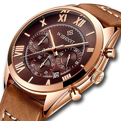 Watches Men's Chronograph Waterproof Sport Date Quartz Analog Luxury Brand Brown Leather Strap Wrist Watch