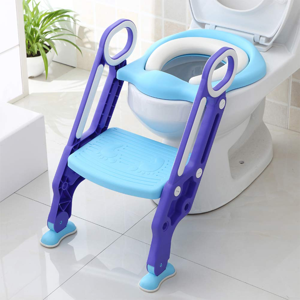 Kingtoys Baby Toilet Training Seat, Toddler Potty Training Chair with Non-Slip Ladder Step for Kids TM01883BE