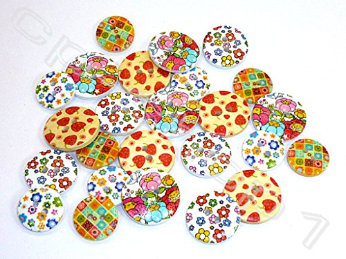 25 HOLZKNÖPFE - Kinderknöpfe - Erdbeer-Blumen-Mix - Ø15-20mm