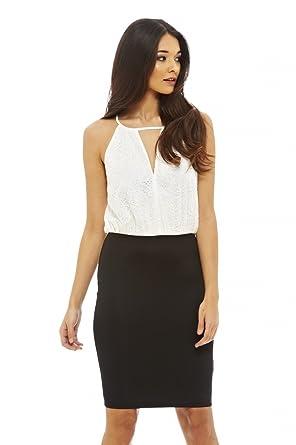 AX Paris Womens Contrast Lace Dress(Cream Black, ...