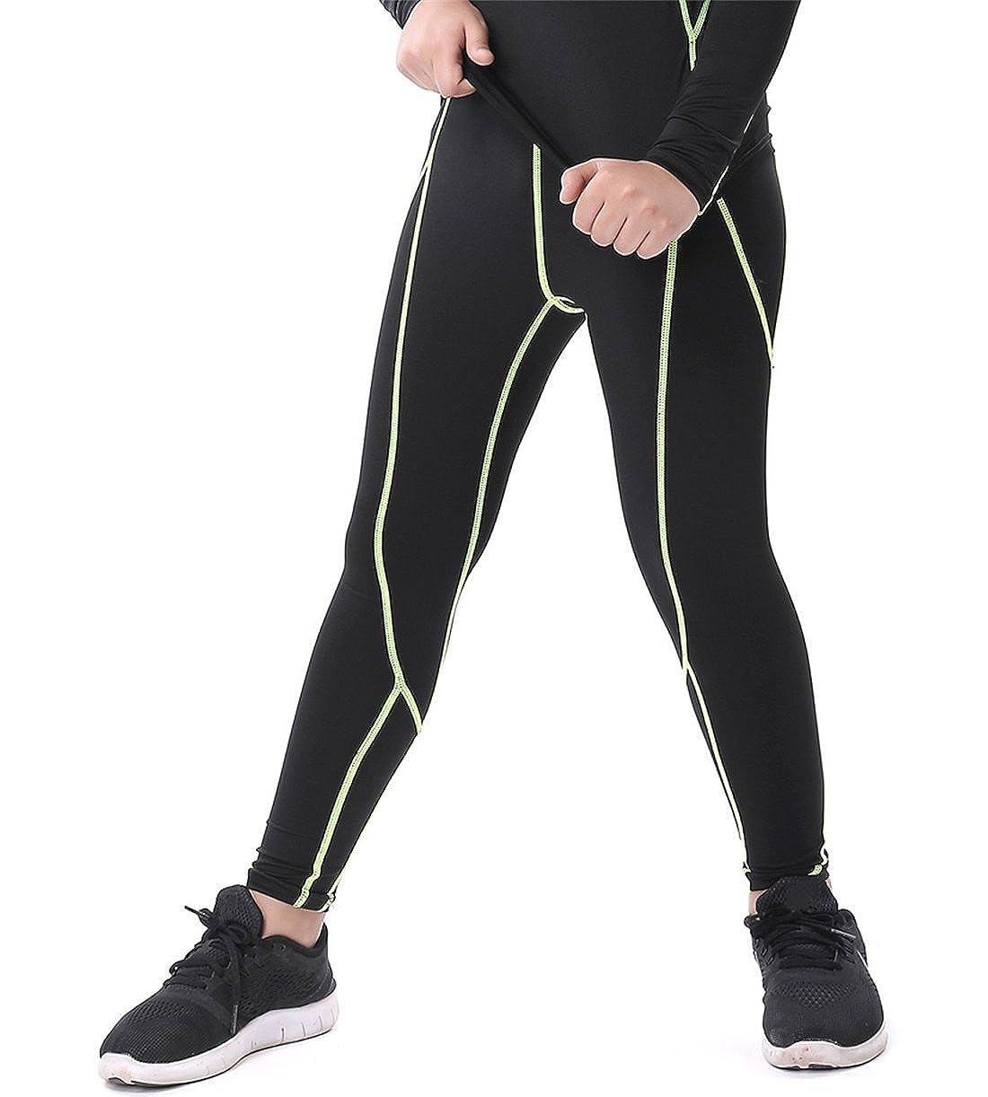 QCHENG Boys & Girls Compression Tights Sport Leggings Base Layer Soccer Hockey Thermal Pants for Kids QEYS007
