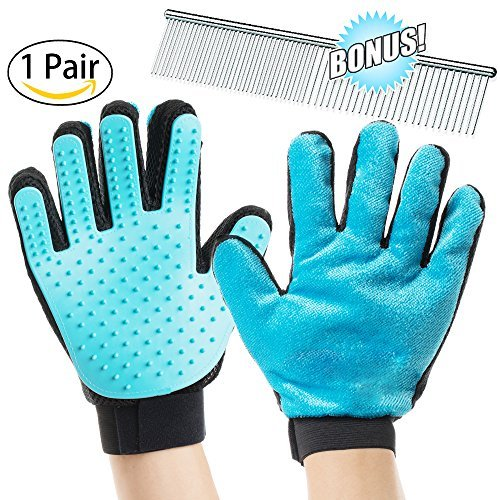 Pet Grooming Gloves by Suwoic, Dog & Cat Brush, Grooming Comb, Grooming Tool, Furniture Pet Hair Remover Mitt, For Long & Short Fur, Gentle De-shedding Brush, Rubber Tips for Massage