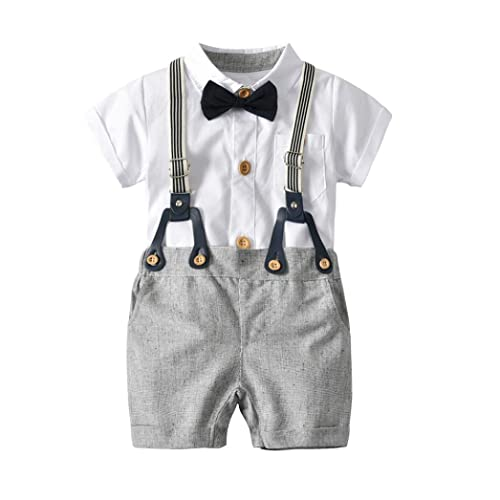 94b1be2b1 Goodtrade8 Toddler Baby Boy 3 Piece Gentleman Ruffle Suspenders Short  Sleeve Shirt Top with Sun Hat