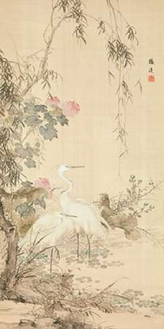 Willow and Herons Poster Print by Anonymous (24 x 48)