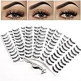 Bella Hair 60 Pairs Humanlike False Eyelashes with Applicator Remover Tweezers – 6 Packs of Reusable Strip Fake Eyelash Extension