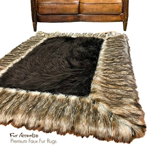 Large Faux Fur Shag Area Rug Brown With Ribbed Fox Border - Throw Rug - Thick - Plush - Rectangle - Ultra Suede - Non Slip Back - Premium Bonded - Acrylic Shag Rug