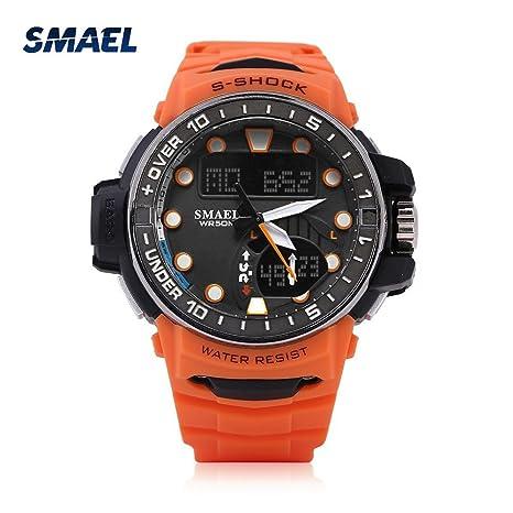 Digital Sport Watch 3Colors Analógico y Digital Dual Display Reloj Redondo con Luz Trasera LED(