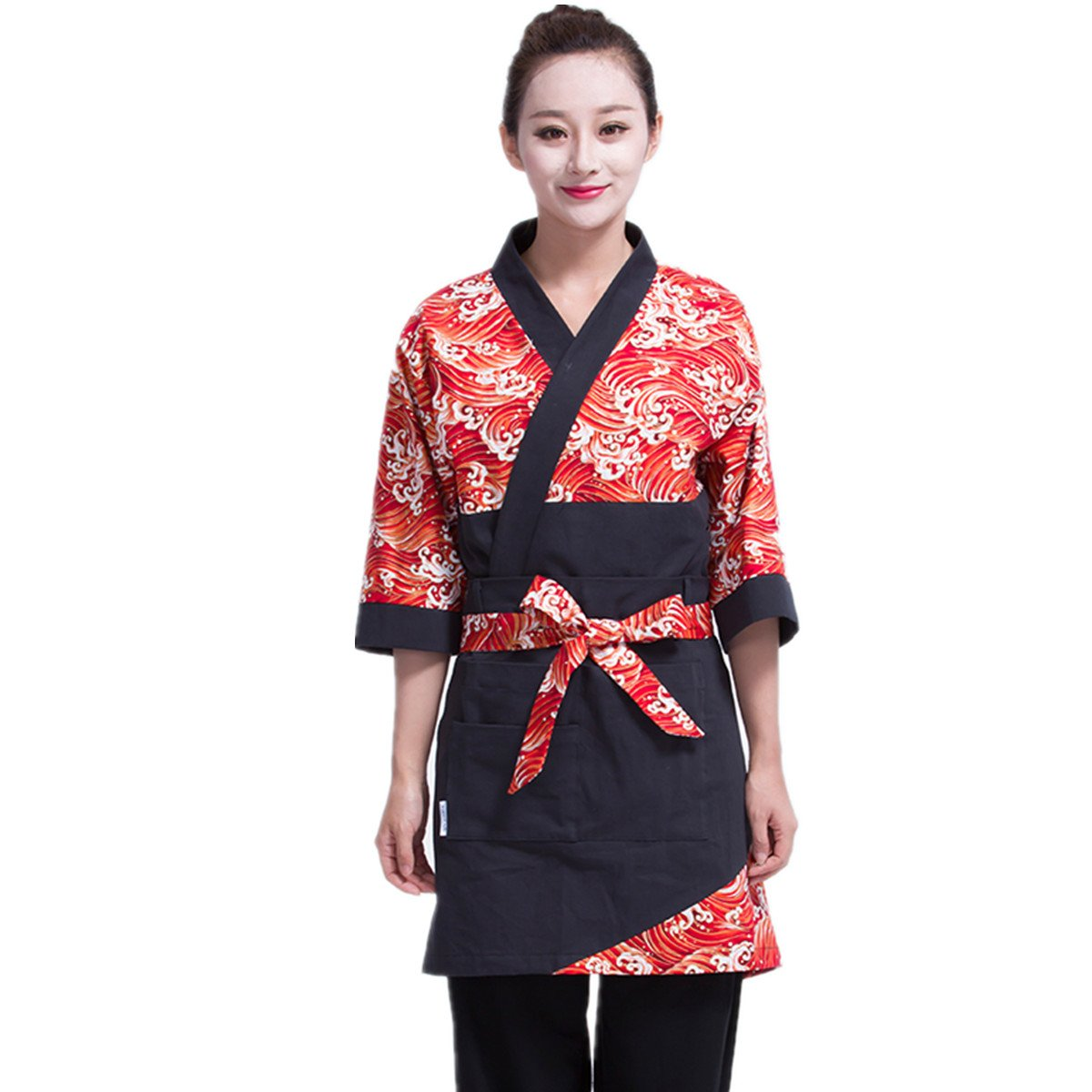 XINFU Sushi Chef Coat Wave of Kanagawa 3/4 Long Sleeve Restaurant Japanese Kitchen Work Uniform by XINFU