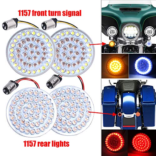 2 inch LED Turn Signal Kit for Harley 1157 Base White/Amber Front Turn Signal Bulbs + 1157 Double Connector Red Rear Turn Signal Lights for Harley Street Glide - Signal Street Kit Led