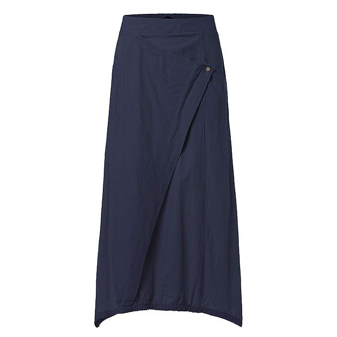 9bc4be98a06e Women Maxi Skirts 2019 Summer Casual Loose High Waist Asymmetrical Linen Skirt  Plus Size,Navy