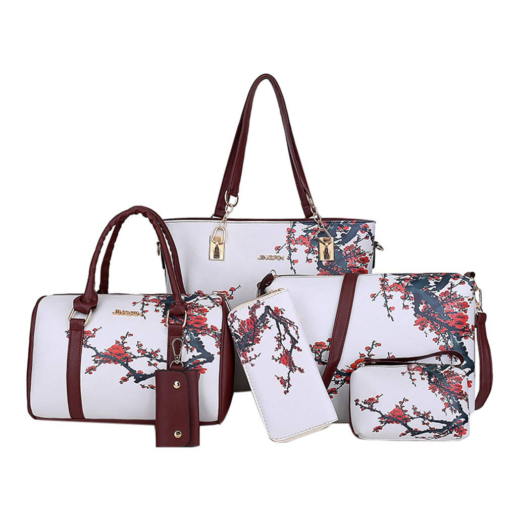 Fashion Leather Shoulder Crossbody Bag Handbag Phone Bag for Women Girls 6Pcs Suitable for All Occasions White