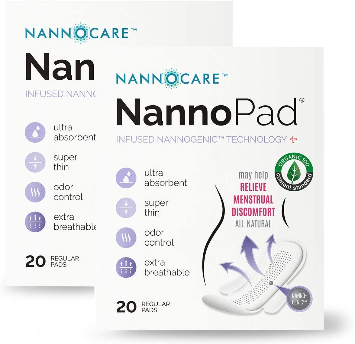 NannoPad Regular Pads for Women - Certified Organic Cotton Pads - Discomfort Reducing Pads with Wings - Feminine Hygiene Products - 20 Sanitary Pads