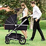 MD Group Baby Stroller 2-In-1 Foldable Aluminum Alloy Black Oxford Switchable Kids Travel
