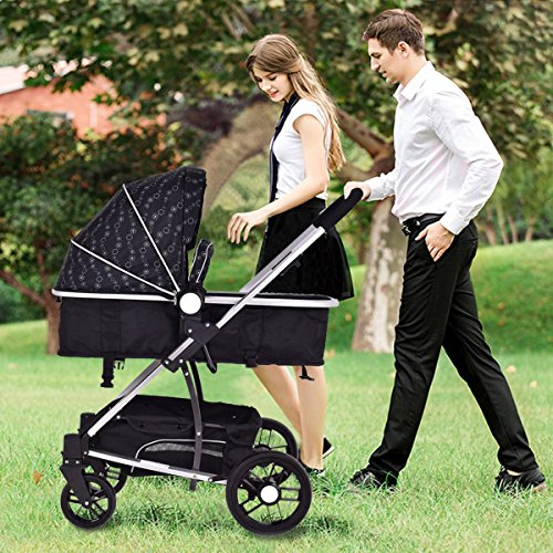 MD Group Baby Stroller 2-In-1 Foldable Aluminum Alloy Black Oxford Switchable Kids Travel by MD Group
